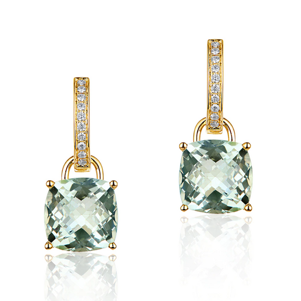 14K Yellow Gold 9.75Ct Green Amethyst Drop Earrings