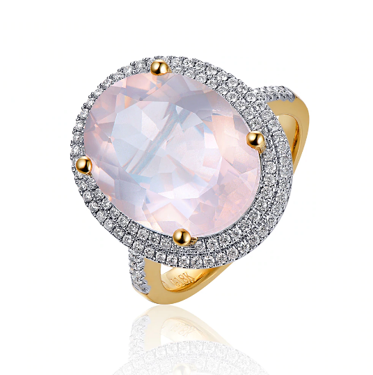 14K Two-Tone Gold 8.51ct Pink Quartz & Diamond Ring - Medusa Jewels