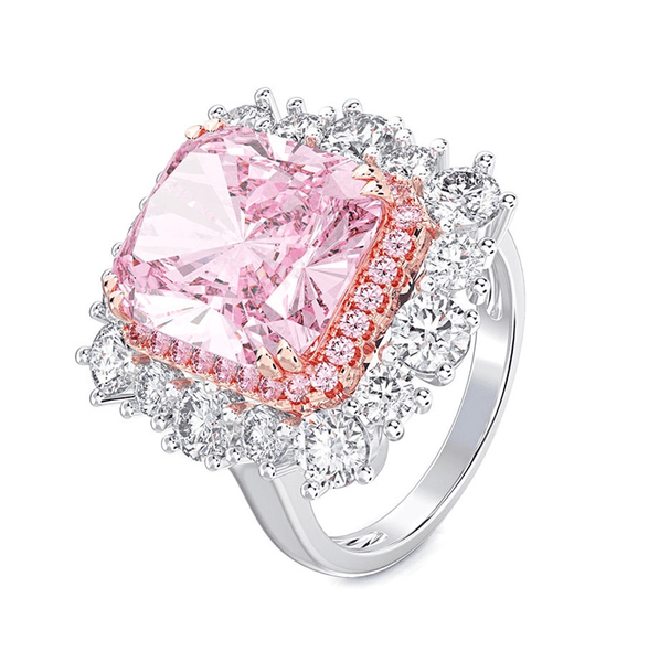 Pink Zircon Double Halo Band Ring - MEDUSA JEWELS