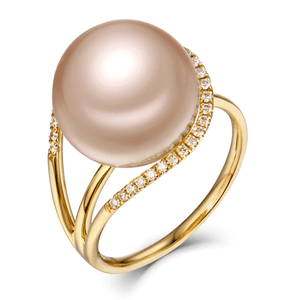 18k Yellow Gold Freshwater Pearl & Diamonds Ring - MEDUSA JEWELS