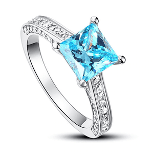 925 Sterling Silver 1.5Ct Princess Cut Fancy Blue Ring - Medusa Jewels