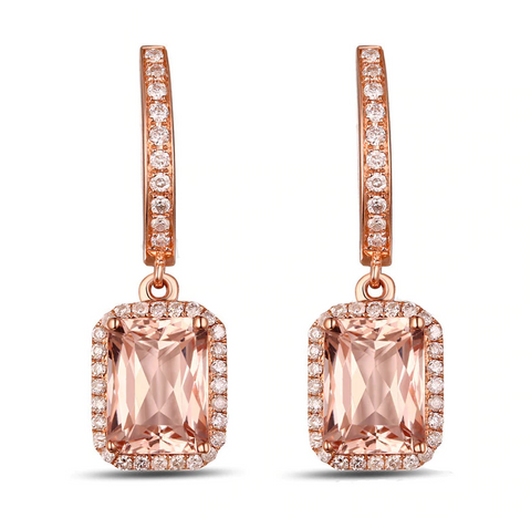 14K Rose Gold 2.77ct Morganite Drop Earrings