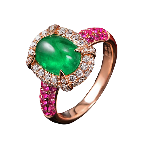14K Rose Gold 2.15ct Emerald & Pink Sapphires Ring