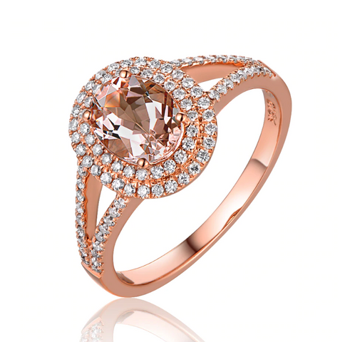 14K Rose Gold 1.10Ct Oval Morganite Halo Ring