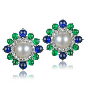 18k White Gold Akoya Pearl, Cabochon Sapphires & Emeralds Earrings - MEDUSA JEWELS
