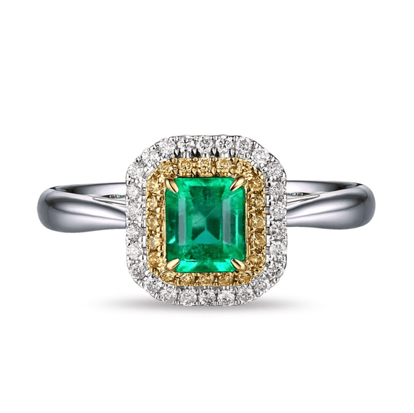 18K Two-Tone Gold 0.73ct Emerald & Diamonds Ring - MEDUSA JEWELS