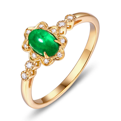 14K Yellow Gold 0.48ct Cabochon Emerald Ring