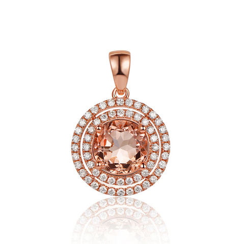 14k Rose Gold 1.89Ct Morganite Pendant