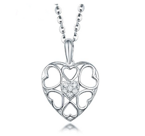 18K White Gold Loving Diamond Pendant Necklace - Medusa Jewels