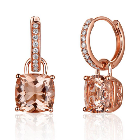 14K Rose Gold 4.31ct Cushion Morganite Drop Earrings