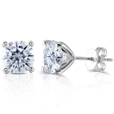 14K White Gold Moissanite Stud Earrings