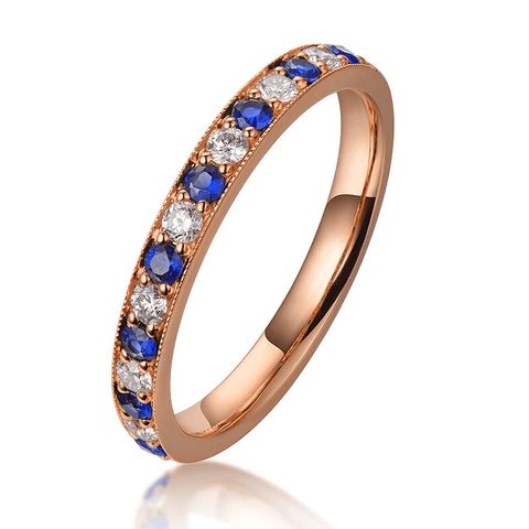 18K Rose Gold Sapphires & Diamonds Band Ring - MEDUSA JEWELS