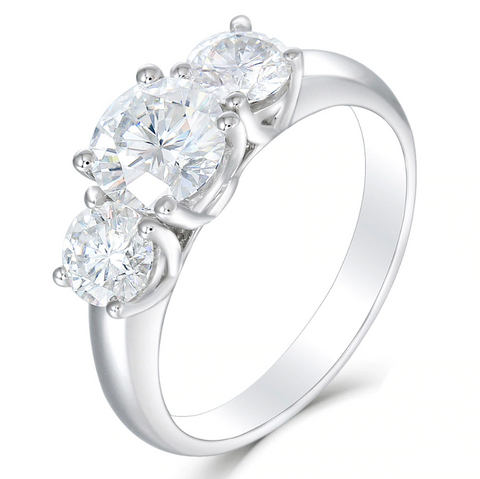 10K White Gold 2.2CT Moissanite Three-Stone Ring