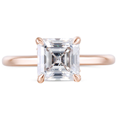 14K Rose Gold Asscher Moissanite Ring