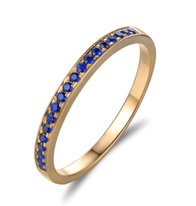 14K Yellow Gold 0.22ct Sapphire Half-Eternity Ring - MEDUSA JEWELS