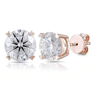 14K Rose Gold 2CT Moissanite Stud Earrings