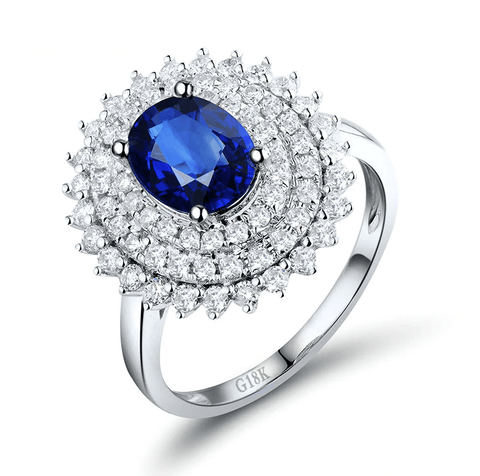 18K White Gold Oval Sapphire & Diamonds Ring - MEDUSA JEWELS