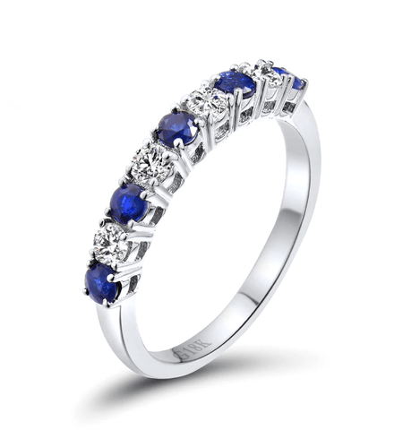 18K White Gold Sapphires & Diamonds Band Ring - MEDUSA JEWELS