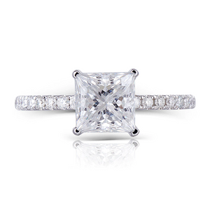14K White Gold 1.5Ct Princess Moissanite Ring