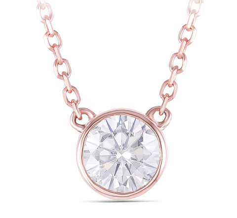 14k Rose Gold 0.4ct Moissanite Pendant