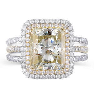 14K Two-Tone 4.5ct Yellow Moissanite Halo Ring