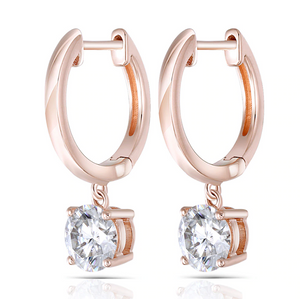14K Rose Gold Moissanite Drop Earrings