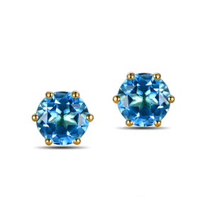 14K Yellow Gold 3.3ct Round Cut Topaz Earrings - Medusa Jewels