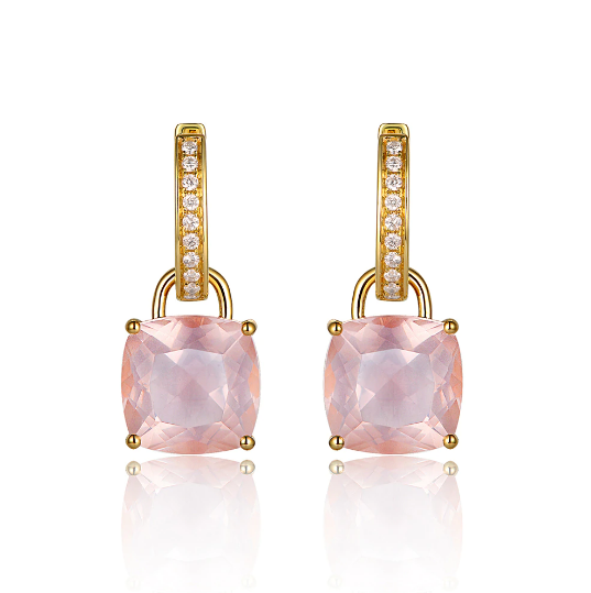 14K Yellow Gold 7.46ct Rose Quartz 0.16ct Diamonds Drop Earrings - Medusa Jewels
