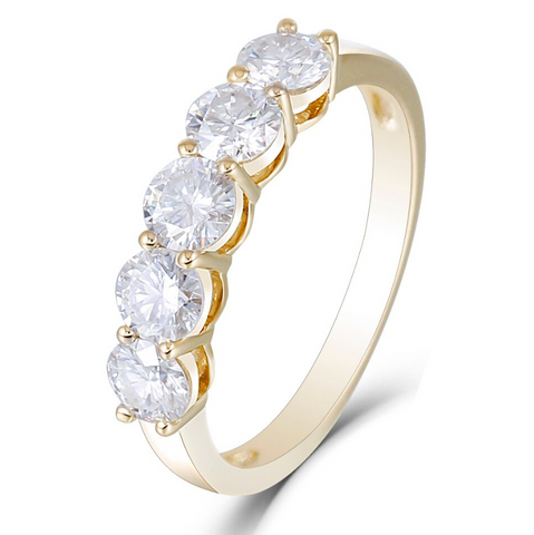 14K Yellow Gold 1.25Ct Moissanite Half Eternity Ring