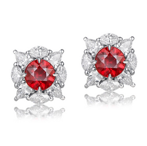 18K White Gold 0.69Ct Round Ruby Earrings
