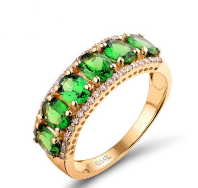 14K Yellow Gold Vintage Diamond Green Tsavorite Ring - Medusa Jewels