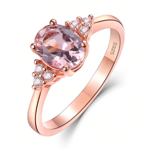 S925 Silver Oval Morganite Ring
