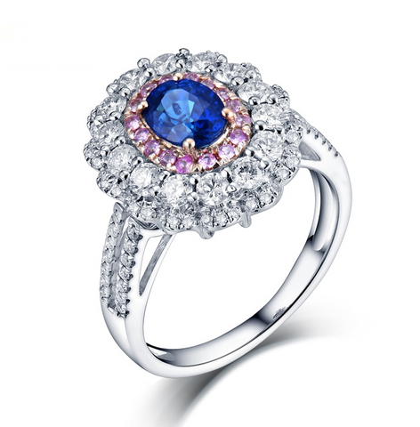 18K White Gold Sapphire & Diamonds Halo Ring