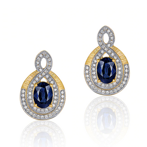 14K Yellow Gold 2.06ct Sapphires & Diamonds Earrings
