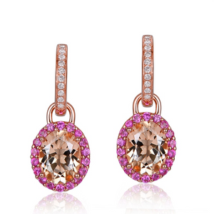 14K Rose Gold 3.66CT Oval Morganite & Sapphires Drop Earrings