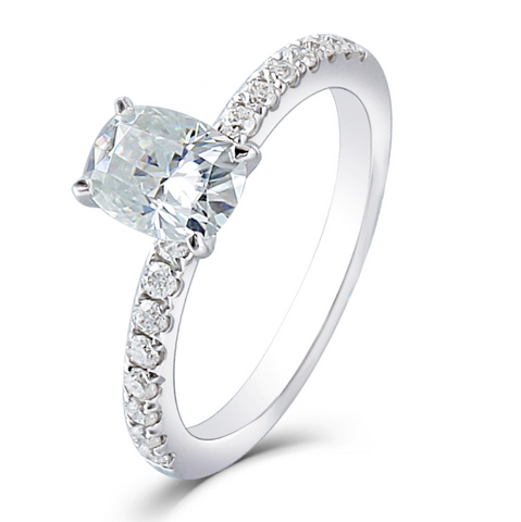 10K White Gold 1Ct Moissanite Engagement Ring