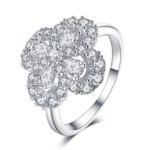 925 Sterling Silver Pear Zircon Flower Ring