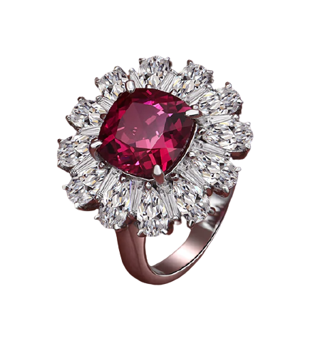 925 Sterling Silver Ruby & Moissanite Ring