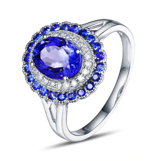 14K White Gold Oval 1.15ct Tanzanite & Diamonds Ring - Medusa Jewels