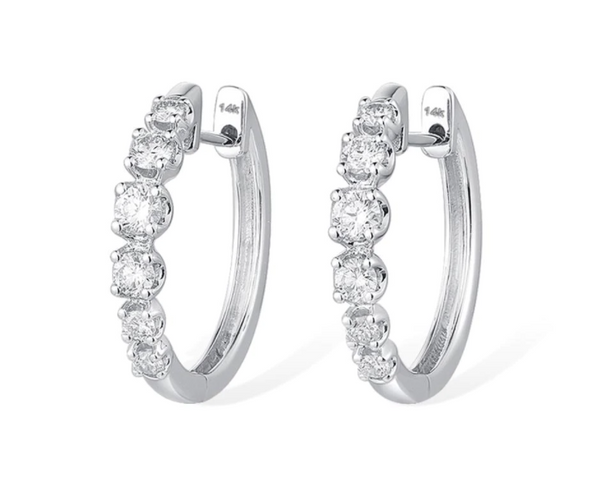 14K White Gold 0.35Ct Diamond Hoop Earrings