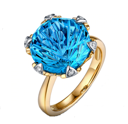 14k Two-Tone Gold 9.68ct Large 12mm Round Cut Blue Topaz Engagement Ring - Medusa Jewels