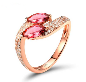 18K Rose Gold 0.69Ct Marquise Pink Tourmaline Ring - Medusa Jewels