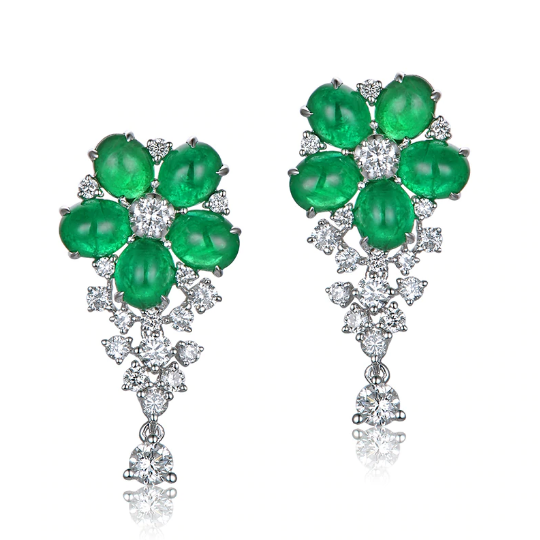 18kt White Gold 3.91ct Cabochon Emeralds 1.0ct Diamonds Drop Earrings - Medusa Jewels