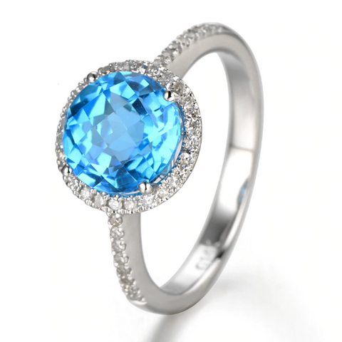 14K White Gold 2.75ct Blue Topaz & Diamond Ring - Medusa Jewels