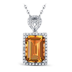 14kt White Gold 3.15ct Citrine & 0.20ct Diamond Pendant - Medusa Jewels