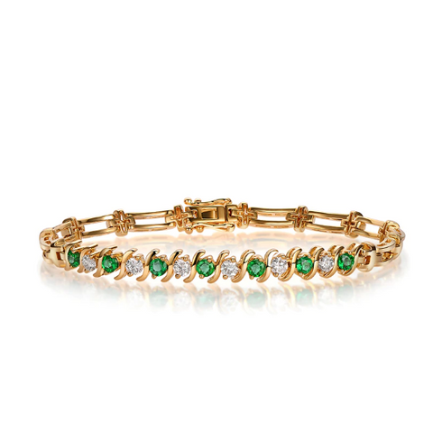 14kt Yellow Gold 1.33Ct Emeralds & Diamonds Bracelet - Medusa Jewels