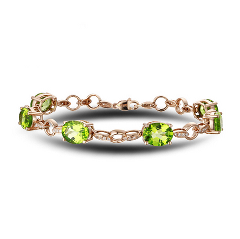 14k Rose Gold 14.10ct Peridot Bracelet - Medusa Jewels