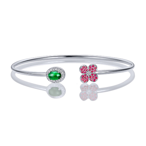 18K White Gold 0.68Ct Emerald, Ruby & Diamonds Bracelet - Medusa Jewels