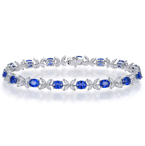 18kt White Gold 6.97ct Sapphire & Diamonds Bracelet - Medusa Jewels