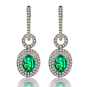 14Kt Yellow Gold Diamond & 1.57Ct Oval Emerald Earrings - Medusa Jewels